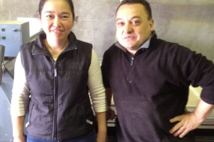 Employer Marco Cavasassi with his employee Ngoc